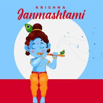 Bannerontwerp van indiase festival krishna janmashtami cartoon stijl illustratie