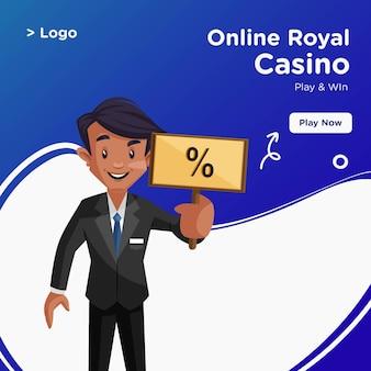 Bannerontwerp van koninklijk casino in cartoon-stijl