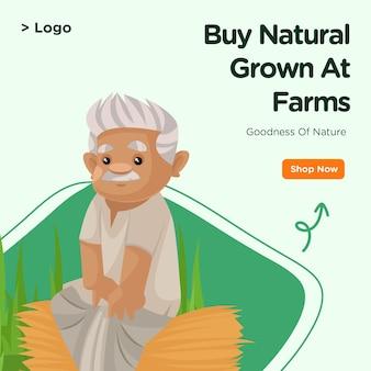Bannerontwerp van koop natuurlijk geteeld op boerderijen sjabloon