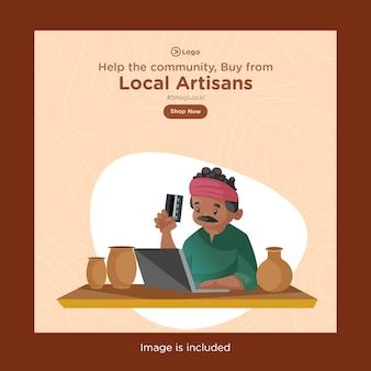 Bannerontwerp van kopen bij lokale ambachtslieden met pottenbakker die op een laptop werkt en een atm-kaart in de hand houdt