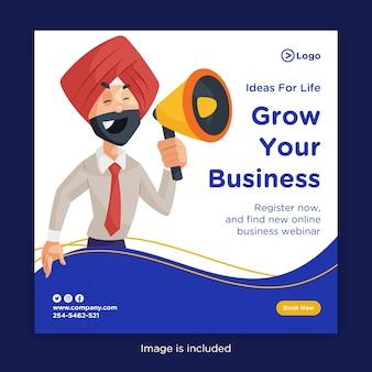 Bannerontwerp van laat uw bedrijf groeien met een punjabi-man met een megafoon