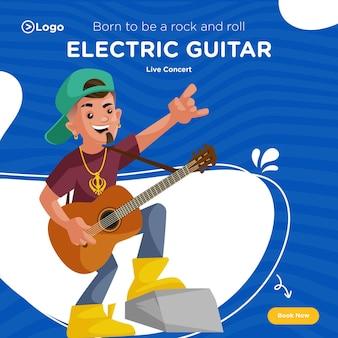 Bannerontwerp van live concert van elektrische gitaar