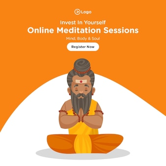Bannerontwerp van online meditatiesessies