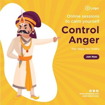 Bannerontwerp van online sessies om jezelf te kalmeren, woede te beheersen