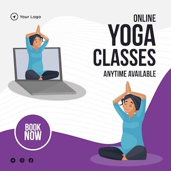 Bannerontwerp van online yogalessen altijd beschikbaar