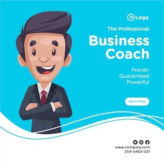Bannerontwerp van professionele business coach is blij.