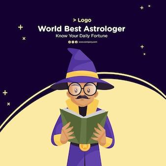 Bannerontwerp van 's werelds beste astroloog in cartoon-stijl
