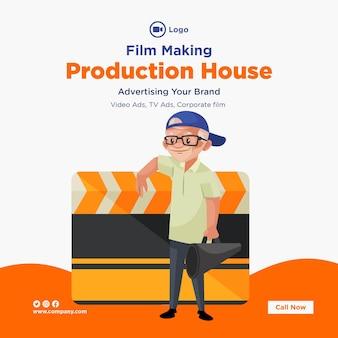 Bannerontwerp van sjabloon voor het maken van films voor productiehuizen