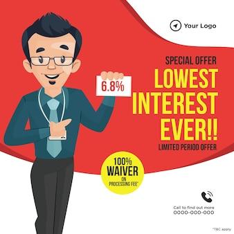 Bannerontwerp van speciale aanbieding laagste rente ooit
