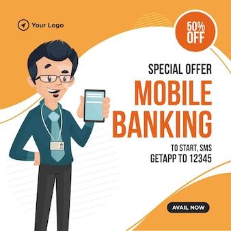 Bannerontwerp van speciale aanbieding mobiel bankieren
