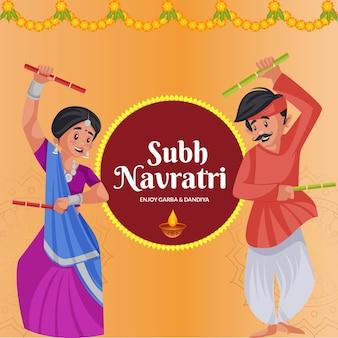 Bannerontwerp van subh navratri geniet van garba en dandiya cartoon-stijlsjabloon
