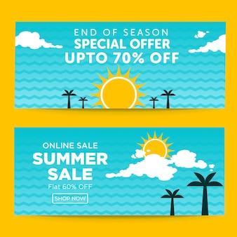 Bannerontwerp voor speciale zomeruitverkoop aan het einde van het seizoen