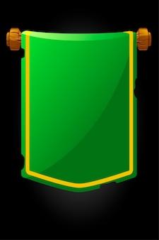 Bannerpaneel oude groene vlag voor het spel. illustratie van een hangende gescheurde vintage vlag.