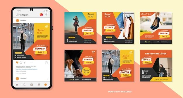 Banners bundle kit set van social media instagram story layout samenstelling smartphone template
