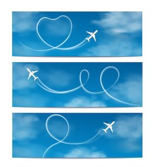 Banners die met vliegtuig worden geplaatst die in de hemel realistische afbeelding vliegen