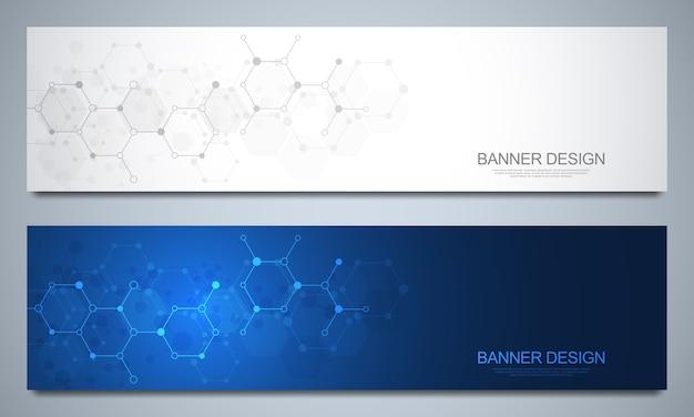 Banners en headers met moleculaire structuren