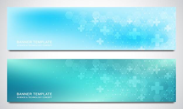 Banners en headers voor site met medische achtergrond en zeshoeken patroon