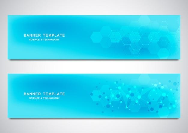 Banners en headers voor site met moleculenachtergrond en neuraal netwerk.