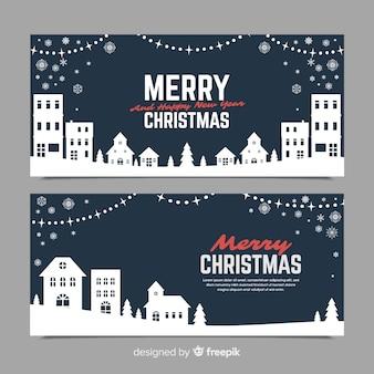 Banners in vlakke stijl met kerststad