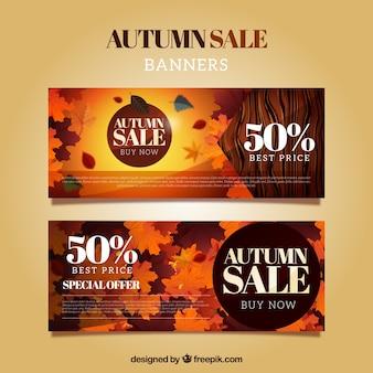 Banners in warme kleuren voor de herfst