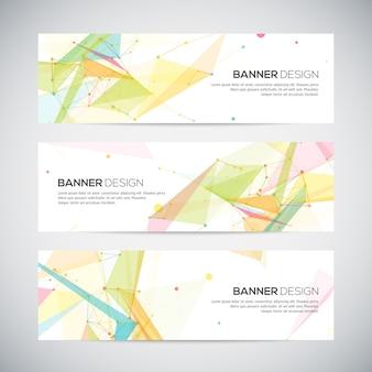 Banners instellen met veelhoekige abstracte vormen