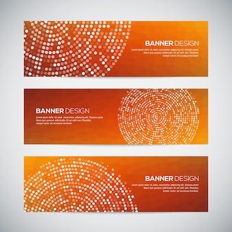 Banners met abstract kleurrijk geometrisch gestippeld patroon en achtergrond. v