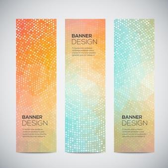 Banners met abstract kleurrijk geometrisch gestippeld patroon en achtergrond.