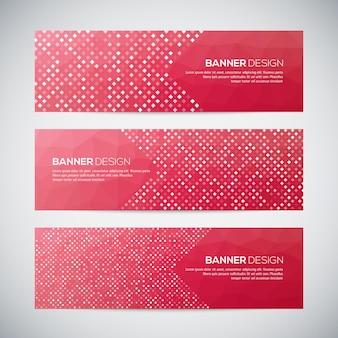 Banners met abstract kleurrijk geometrisch patroon en achtergrond.