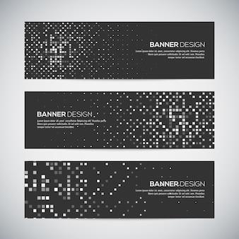 Banners met abstracte kleurrijke willekeurige geometrische achtergrond