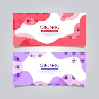 Banners met abstracte organische dynamische vormen