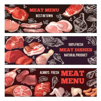 Banners met afbeeldingen van vlees. brochure sjabloon voor slagerij. set poster met voedsel vlees, varkensvlees en rundvlees. illustratie