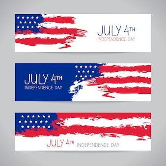 Banners met amerikaanse vlag. ontwerp voor onafhankelijkheidsdag