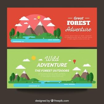 Banners met avontuur gebieden