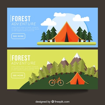 Banners met camping gebieden