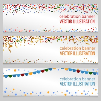 Banners met confetti voor evenement verjaardag feestelijke kerst, nieuwjaar, vectorillustratie