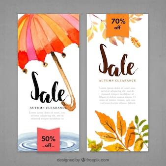 Banners met de herfst klaring