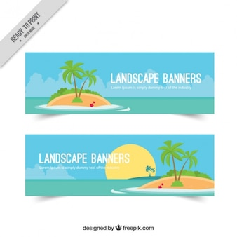 Banners met een onbewoond eiland