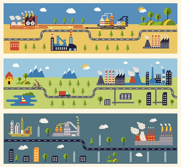 Banners met gebouwen van industriële fabrieken.