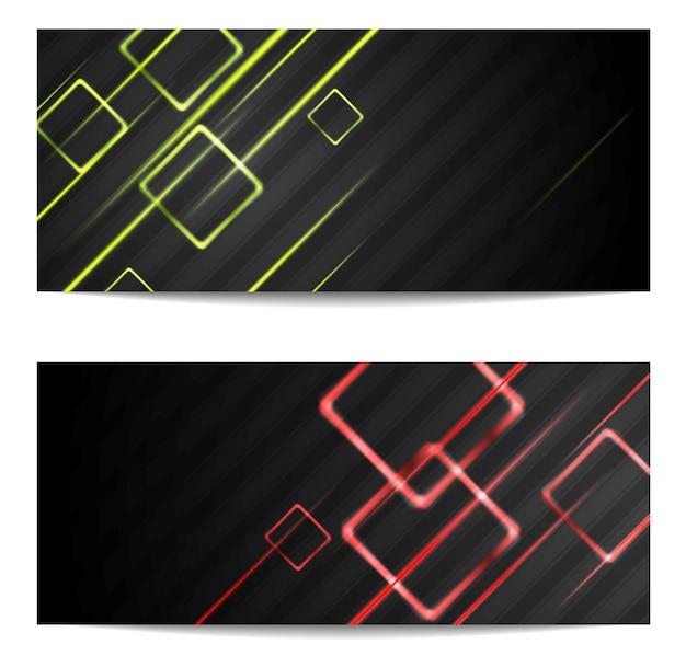 Banners met glanzende strepen en vierkanten. vector ontwerp
