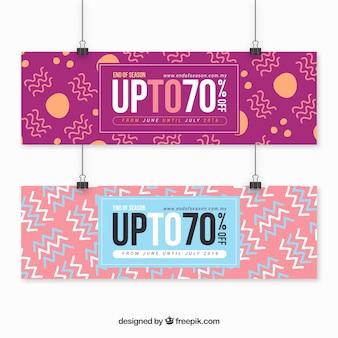 Banners met grote verkoop in abstracte stijl
