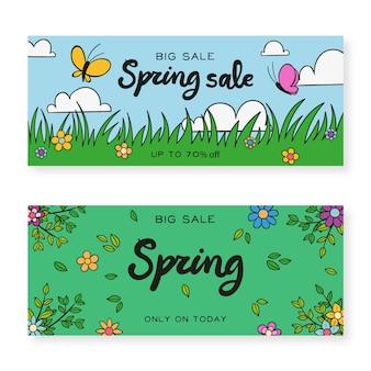 Banners met hand getrokken lente elementen