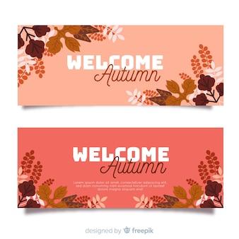 Banners met herfstblad