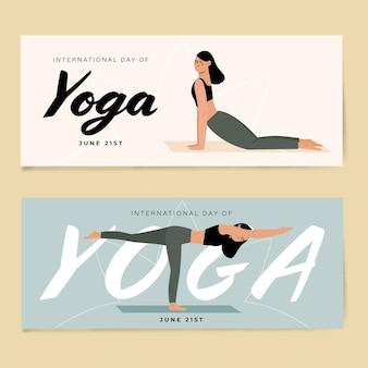 Banners met internationale dag van yoga
