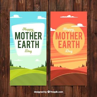 Banners met landschappen voor moeder aarde dag
