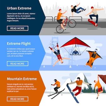 Banners met mensen die extreme sporten beoefenen, zoals parkour paragliding en snowboard
