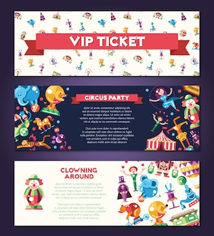 Banners met moderne platte ontwerp circus en carnaval pictogrammen en infographics elementen
