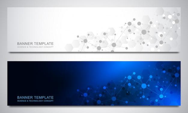 Banners met moleculen achtergrond en neuraal netwerk