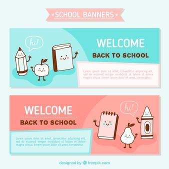 Banners met mooie hand getrokken scholen tekens