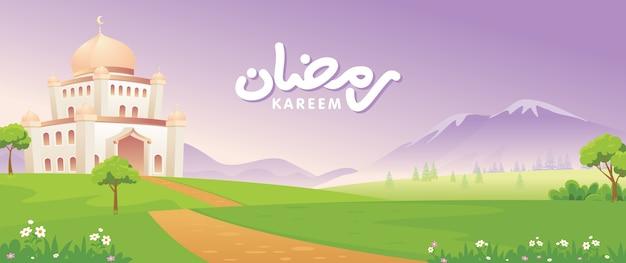 Banners met moskeeën en prachtig natuurlandschap