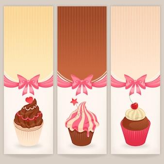 Banners met schattige taarten